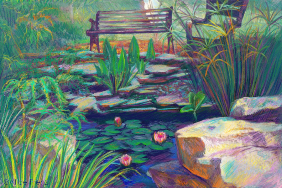 alice-frenz-my-dads-lily-pond-digital-pastel-drawing-corel-painter