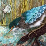 Alice Frenz green heron in the shallows water fabric collage illustration butterfly