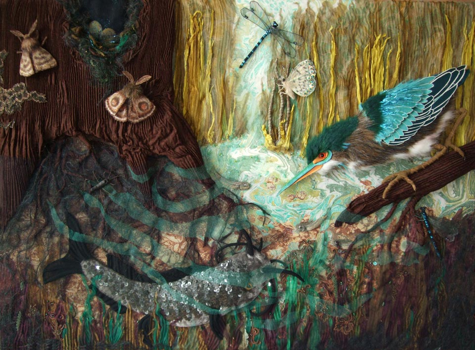 Alice Frenz fabric collage green heron catfish in the shallows water